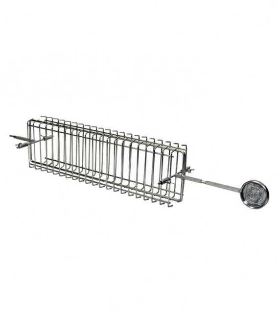Rotisserie flat basket with handle for grill grate 70 cm