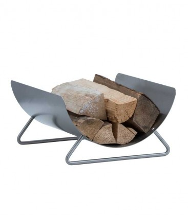 Curved stainless steel wood holder, H 23 cm