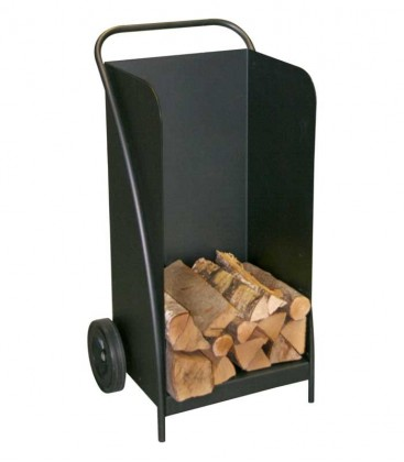 Mobile firewood trolley black, H 95 cm