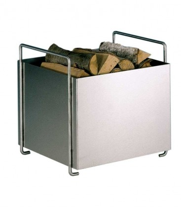 Stainless steel log basket with two handles