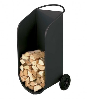 Mobile firewood trolley, curved