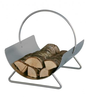 Stainless steel log basket with handle