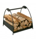 Log basket with handle, black