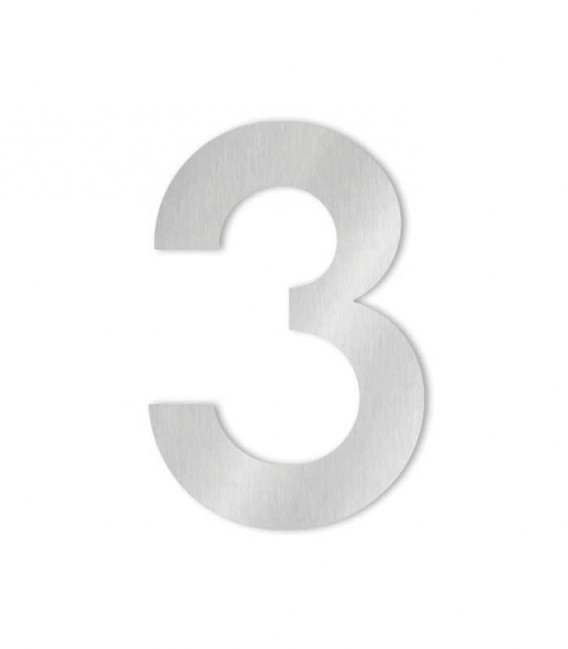 Stainless steel house number MIDI 3 for sticking
