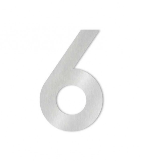 Stainless steel house number MIDI 6 for sticking