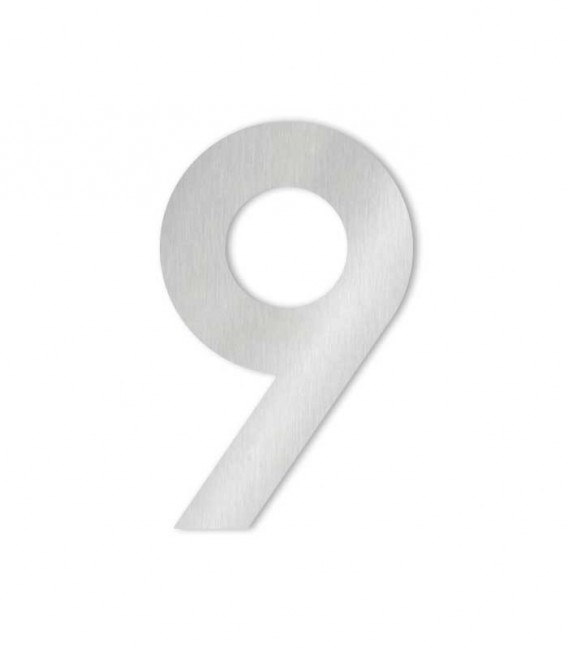 Stainless steel house number MIDI 9 for sticking