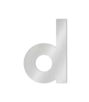 Stainless steel house number MIDI letter d