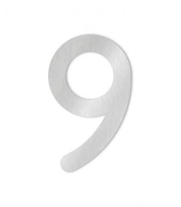Stainless steel house number COLU 9 for sticking