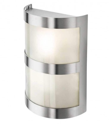 Half cylinder wall light with border, stainless steel