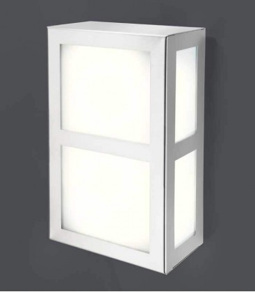 Square outdoor wall light with border, stainless steel