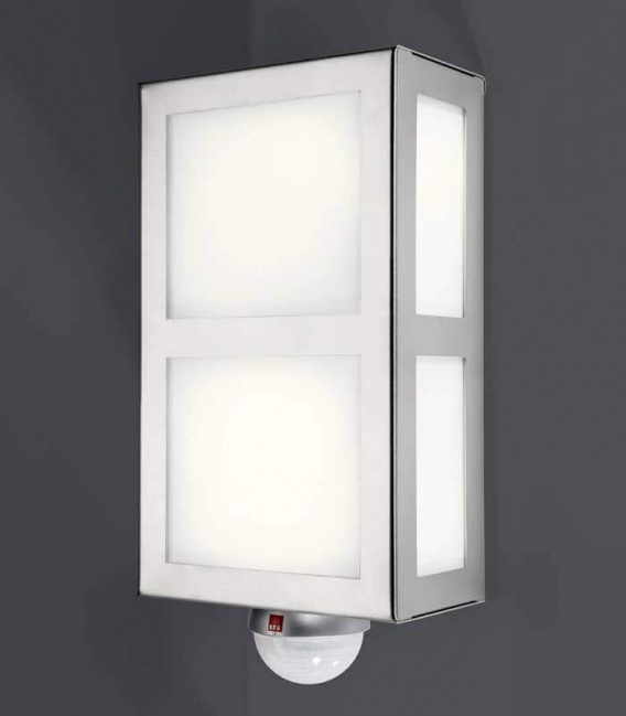 Square outdoor wall light with border & sensor, stainless steel