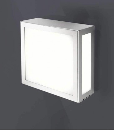 Square outdoor wall light, stainless steel