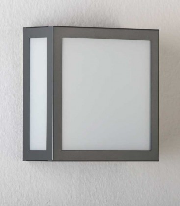 Square anthracite outdoor wall light