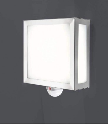 Square outdoor wall light with sensor, stainless steel