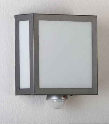 Square anthracite outdoor wall light with sensor