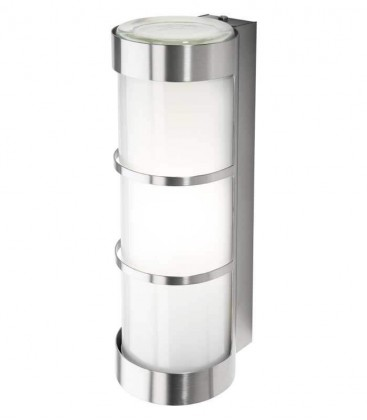 Cylinder outdoor wall light with border, stainless steel