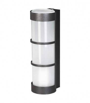Graphite cylinder outdoor wall light with border
