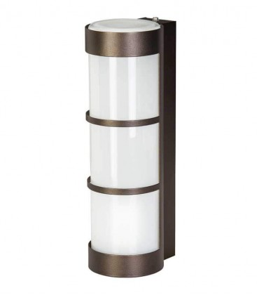 Brown cylinder outdoor wall light with border