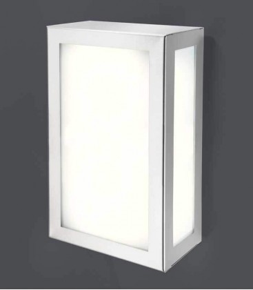 Rectangular outdoor wall light, stainless steel