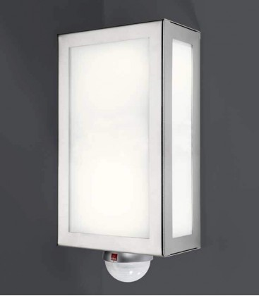 Rectangular outdoor wall light with sensor, stainless steel