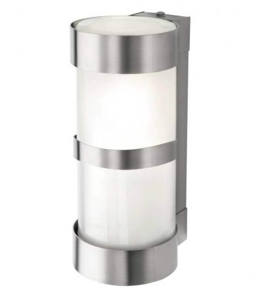 Cylinder outdoor wall light with border H 24, stainless steel