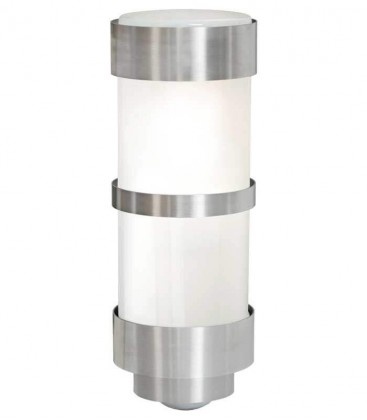 Cylinder outdoor wall light with border & sensor H 28 cm, stainless steel