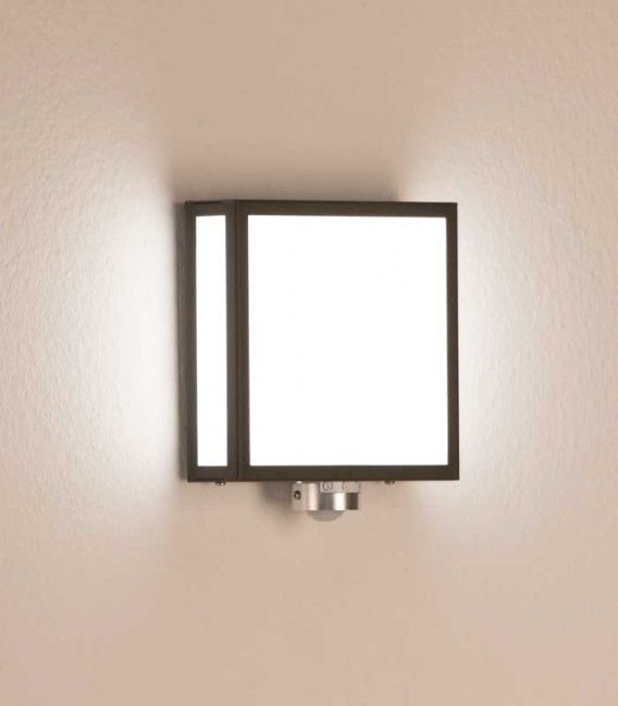 Square outdoor wall light with sensor, graphite