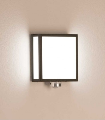 Square LED outdoor wall light with sensor, graphite