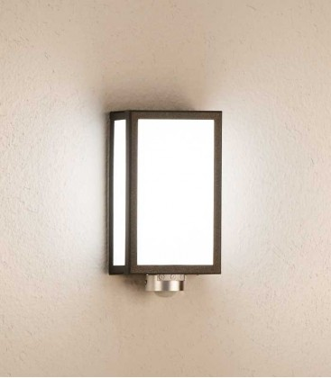 Rectangular graphite outdoor wall light with sensor
