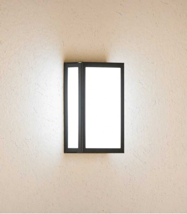Rectangular graphite outdoor wall light