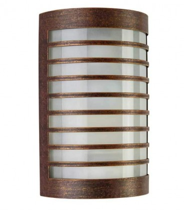 Half cylinder wall light TERU with border, brown-gold