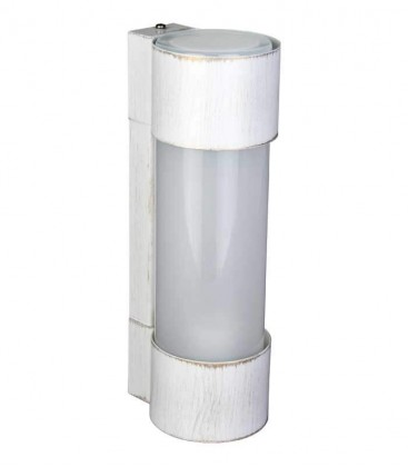 Cylinder outdoor wall light NEPTO, H 31 cm, white-gold
