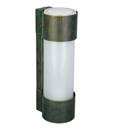 Cylinder outdoor wall light NEPTO, H 31 cm, green-gold