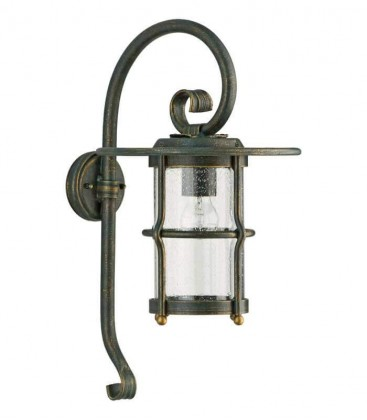 Outdoor wall light FINITA, green-gold