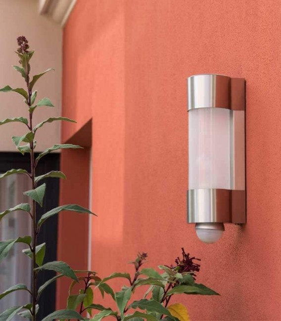 Cylinder outdoor wall light NEPTO with sensor, stainless steel