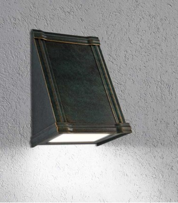 LED outdoor wall light PUCA, green-gold