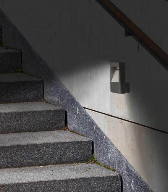 Grey LED outdoor wall light STRATO