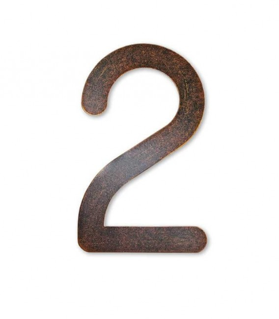 Stainless house number MAX 2, brown-gold