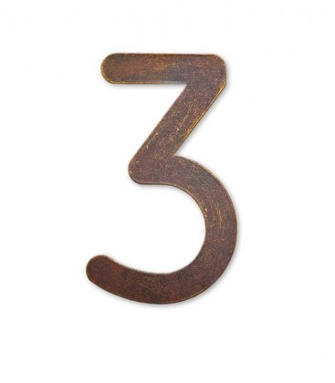 Stainless house number MAX 3, brown-gold