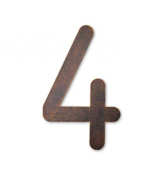Stainless house number MAX 4, brown-gold