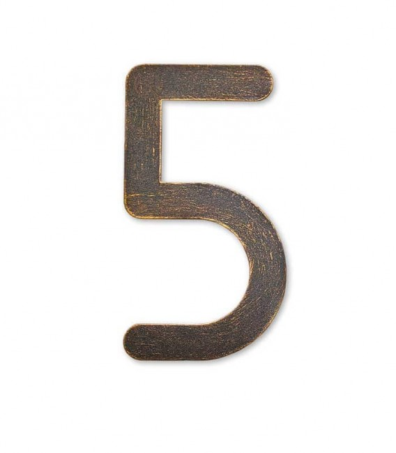 Stainless house number MAX 5, brown-gold