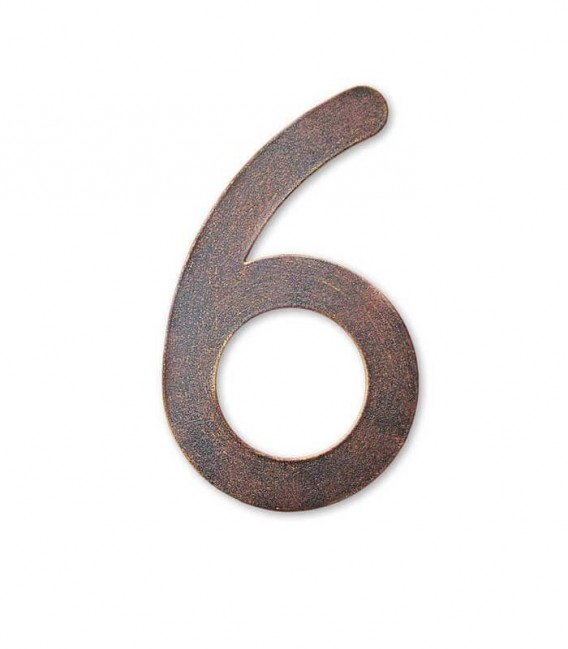 Stainless house number MAX 6, brown-gold