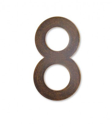 Stainless house number MAX 8, brown-gold