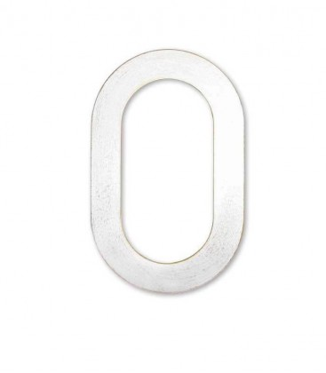 Stainless house number MAX 0, white-gold