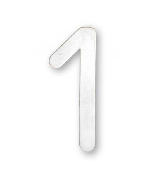 Stainless house number MAX 1, white-gold