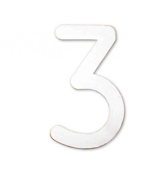 Stainless house number MAX 3, white-gold