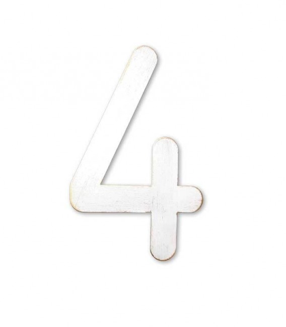 Stainless house number MAX 4, white-gold