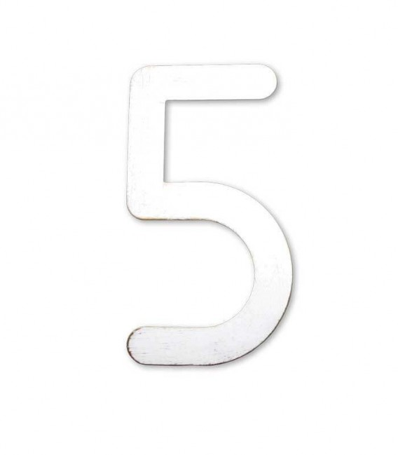 Stainless house number MAX 5, white-gold