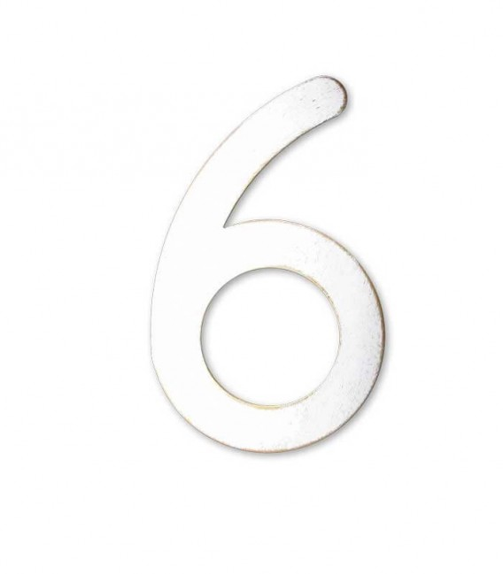 Stainless house number MAX 6, white-gold