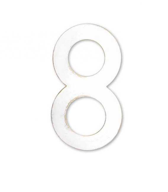 Stainless house number MAX 8, white-gold